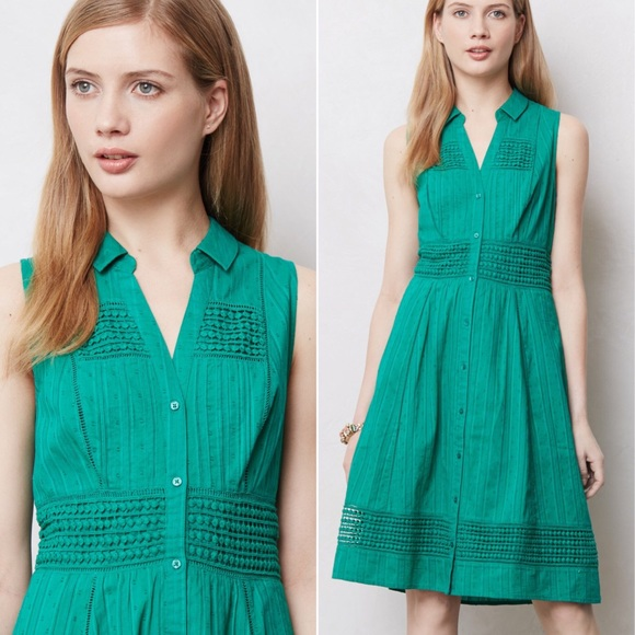 e548811ec89f Anthropologie Dresses & Skirts - Anthropologie Swiss Dot Shirtdress Maeve  green 8